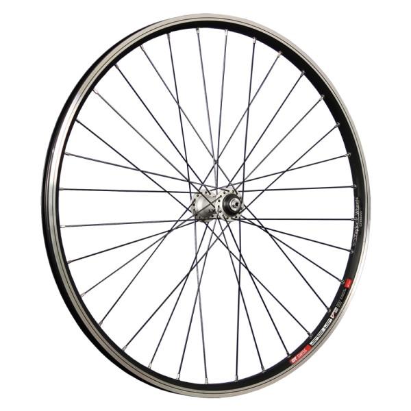 fietswiel 26 inch voorwiel DT Swiss 535 met Deore XT naaf zwart