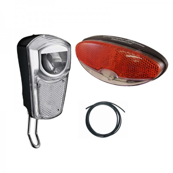 Bike LED Light Set 35 LUX front light and rear light for dynamo hub